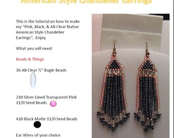 Pink, Black, AB Clear Native American Style Earrings Tutorial