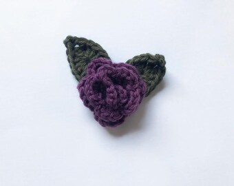 plum crochet flower headband / crochet headband / baby headband / floral crochet hair accessory