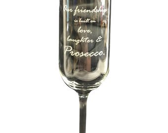 Personalised Custom Engraved Champagne Flutes, wine glass Any Text / Image