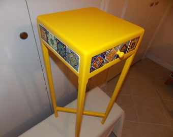 Southwestern Style Handcrafted Wood & Ceramic Tile Yellow Accent Table with drawer