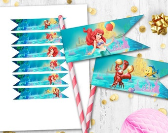 Little Mermaid Straw flags Ariel Digital printable straw flags Cupcake toppers Cake toppers