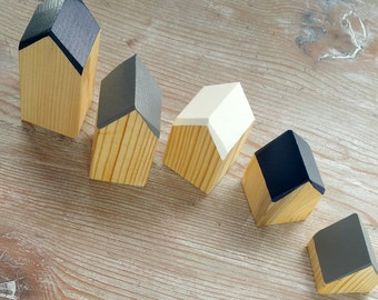 Happy Little Neighborhood - Wood Block Houses - Navy, Gray + White - Natural Wood - Montessori, Waldorf, Homeschool