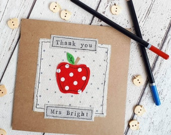 Personalised Teacher thank you card, end of term thank you card, nursery leavers card, key worker thank you card, childminder thank you card