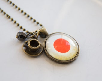 Flag of Japan Pendant Necklace - Adoption Jewelry - Patriotic Jewelry - Custom Jewelry Travel Necklace Red Dot Asia Japanese Asian Necklace