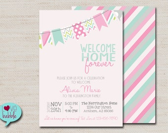 Baby Girl Shower adoption Invitation, Pink Mint  - PRINTABLE DIGITAL FILE - 5x7