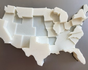 3D Printed Map | Infographic Fridge Magnet | International Airports Data Visualization