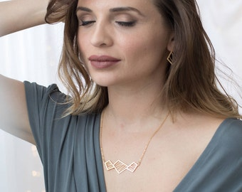 Gold Geometric Necklace, Triangle Necklace, Square Necklace, Gold Necklace, Delicate Necklace, Geometric Jewelry, Necklace, Triangle Jewelry