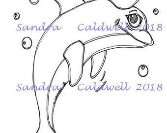 2247 Dolphin Sailor Digi Stamp