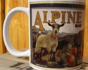 Alpine Goat Crate Label Coffee Mug