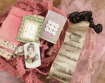 A Collection If Antique & Vintage Pink Sewing Notions To Get You Started