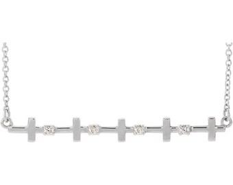 Sterling Silver Sideways Cross Bar Necklace