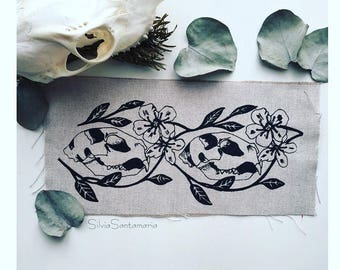 Cat skulls and pear blossoms back patch