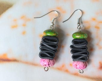 Marble Sisters  (handmade earrings from recycled bicycle inner tube and beads)