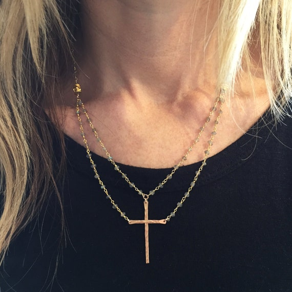 """Be Still""™ Cross Necklace in Gold Vermeil and labradorite"