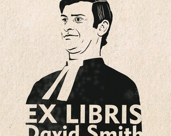 Custom Exlibris Portrait Rubber Stamp Mounted on the Wooden Handle