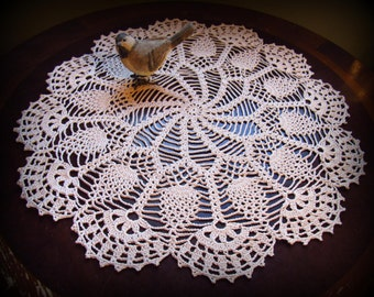 """Large Ecru/Natural Crochet Doily--Pinwheels and Pineapples with Beautiful Fan Edging--17-1/2"""" Table Topper--Free Shipping"""