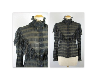 Vintage 70s Loris Azzaro Ruffled Silk Blouse S Semi Sheer Black with Gold Metallic thread