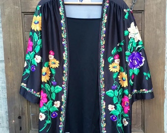 Vintage 70's Floral Silky Polyester Kimono Top One Size by Top Notch