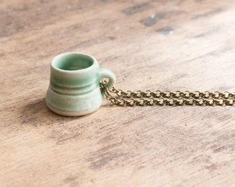 Mug Necklace: Mint Green