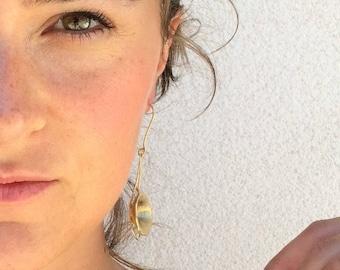 Boucles d'oreilles pendantes argent sterling plaqué or 18k
