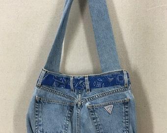 Vintage Handmade GUESS Denim Jeans Handbag