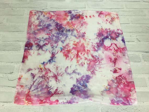 "18"" Silk Throw Pillow Cover Baby Girl Princess Pillow Ice Dyed Tie Dye Handmade Artist Zipper Covers Nursery Pink Purple #230"