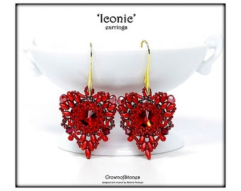 "Bead Pattern ""Iconic"" Heart shaped Valentine Earrings with Swarovski and Superduo Tutorial"