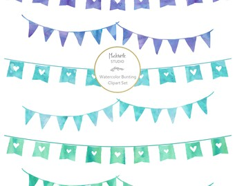 Watercolor Bunting Flags Clipart - 12 images, 300dpi, PNG & EPS files - Bunting Clip Art - Watercolor Banner Clipart - Instant Download