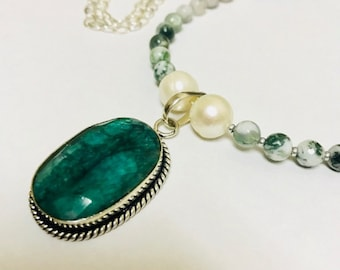Green corundum pendant necklace, tree agate beads,freshwater pearl, sterling chain