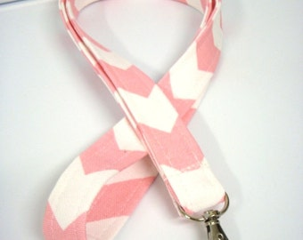 Lanyard - ID Holder Comes with Swivel Lobster Claw and Key Ring- Baby Pink Chevron