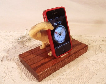 iPhone - iPod Dock -Charger and Sync Station - Oak -  Big Tan Grey Dino - Scary - One of a Kind - Big Sale