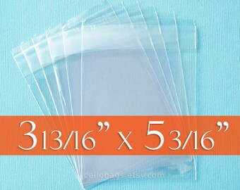 100 3 13/16  x 5 3/16 Inch Resealable Cello Bags for A1 Cards w/ Envelope, Clear Cellophane Plastic Packaging, Acid Free