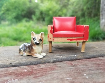 Dollhouse Chair and Dog - Vintage Miniatures