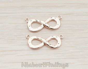 CNT077-RG // Glossy Rose Gold Plated Infinity Connector, 2 Pc
