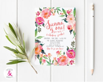 Floral Birthday Invitation, Spring, Unique, Watercolor, Flower [218m]