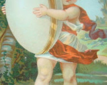 SALE Victorian Scrap (Child with an Egg) # 1