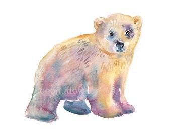 Childrens Art, Nursery Art, Animal Painting, Watercolor Painting, Nursery Art Print, Baby Polar Bear