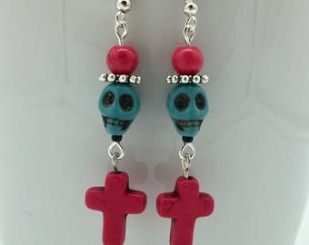 Skull and crossbones earrings ' death and devils '   Turquoise-Pink