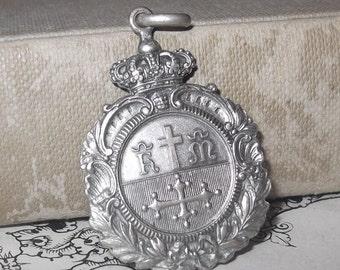 Religious Medallion 800 Silver, Heraldic, Charitas, Confraternity of Mercy of Pisa, Medal, Catholic Pendant, Crown