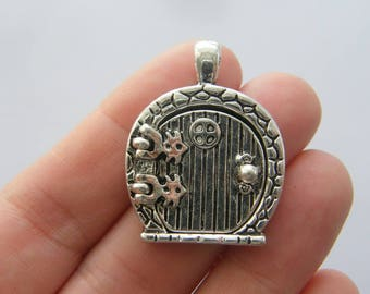 1 Fairy door locket pendant antique silver tone P473