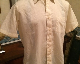 Vintage Casual Shirt - 1980s - Cream - Pinstriped - Mens - Extra Large - Arrow Kent - Classic - Preppy