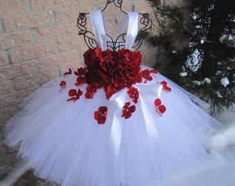 WHITE RED FLOWERS, White Tutu Dress, Flower Girl Gown, Pageant Girl Dress, Baptism Gown, Red Flowers, Red Tutu Dress, White and Red Tutu