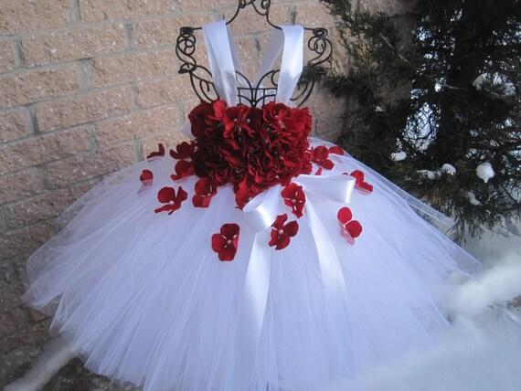 Weiße rote Blumen weißen Tutu Blumenmädchen Kleid Festzug