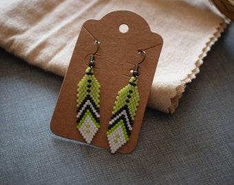 Green Feather Earrings