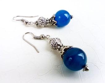 Earrings 'Louisa' - Blue agate gemstones and silvertone beads - Statement bohemian earrings, boho chic, something blue -  Handmade jewelry
