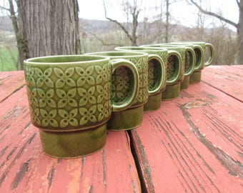 Set of Six Vintage Coffee Mugs - Mid Century Stacking Mugs - Avocado Green Cups - Made In Japan