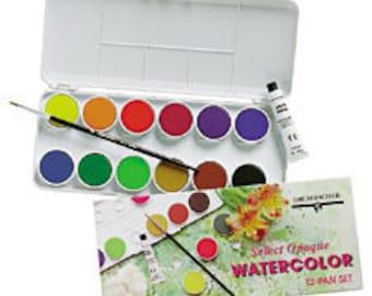 Watercolor Paint, fine art, painting travel set, 12 pan kit, sable brush, Grumbacher paints, artist gift, watercolor kit, watercolor paints,