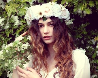 Nude flower crown, flower garland, Lana Del Ray, Wedding headpiece, nature inspired, vintage inspired, rustic rose, love.