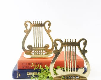 Vintage Harp/Lyre Brass Bookends / Music lover gift