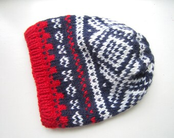 Slouchy Nordic Winter Hat - PDF knitting pattern